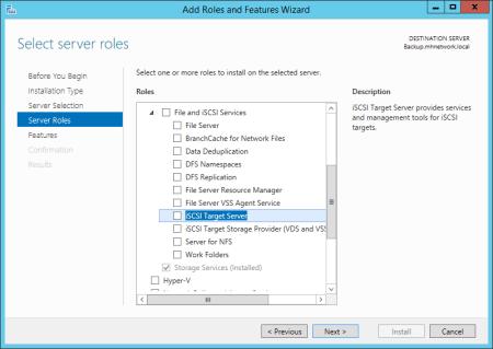 Windows Server add iSCSI Target Server - Windows Server - add iSCSI Target Server
