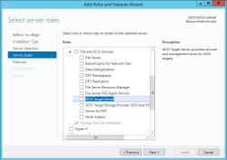 Windows Server - add iSCSI Target Server