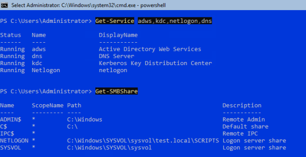 Check AD services and shares 600x309 - Setting Up Active Directory, DNS, and DHCP on Server Core using PowerShell