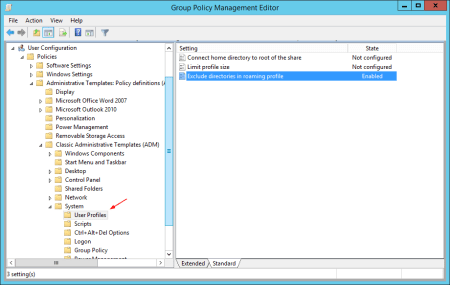 Group Policy user profiles Exclude directories - Group Policy - user profiles - Exclude directories