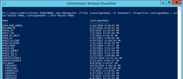 Get ADComputer 600x259 - Find and Remove Inactive Active Directory Computer Accounts Using PowerShell
