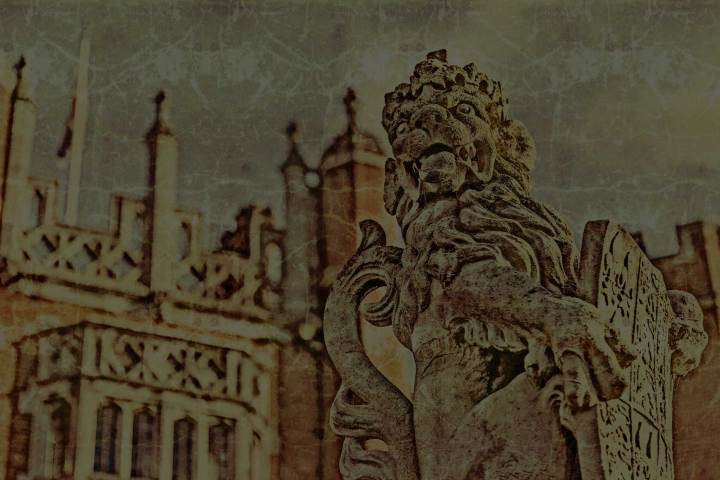 A retro image of Hampton Court Palace.