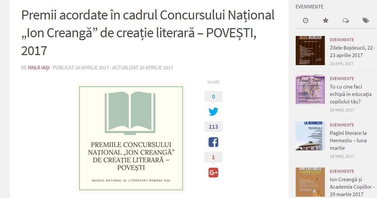 """Premiile Concursului Național """"Ion Creangă"""" de creație literară – POVEȘTI, 2017"""