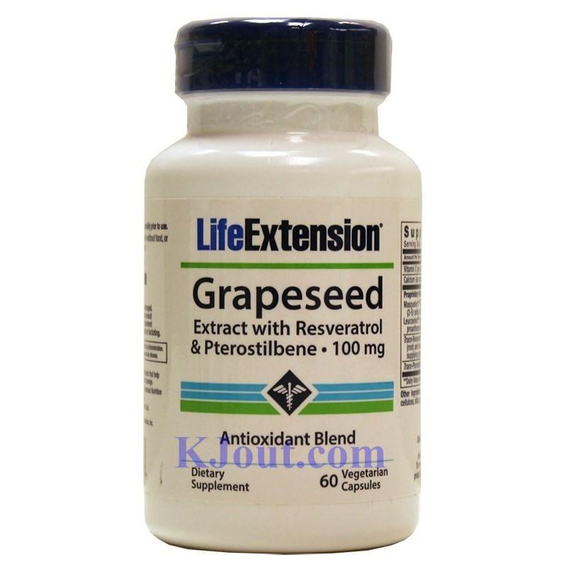 Life Extension牌葡萄籽精華素膠囊 (含白藜蘆醇和紫檀芪)100毫克 60粒- KJout.com美國購物