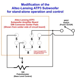 schematic and diagram for converting the altec lansing atp3 powered subwoofer for stand alone use [ 1499 x 1340 Pixel ]