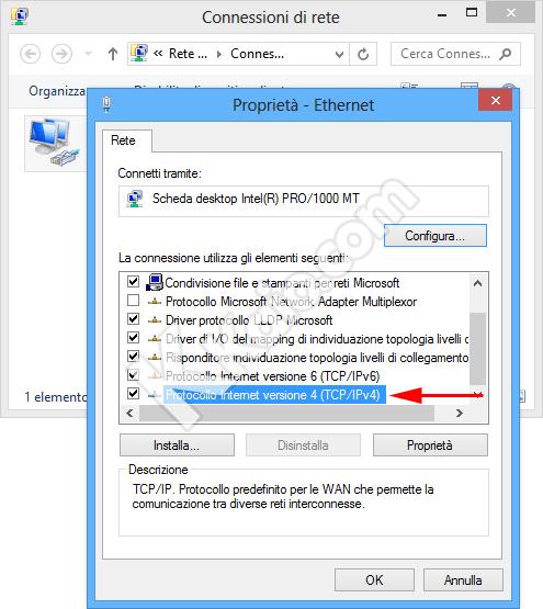 Cambiare server DNS in Windows 8 - Proprietà connessione di rete