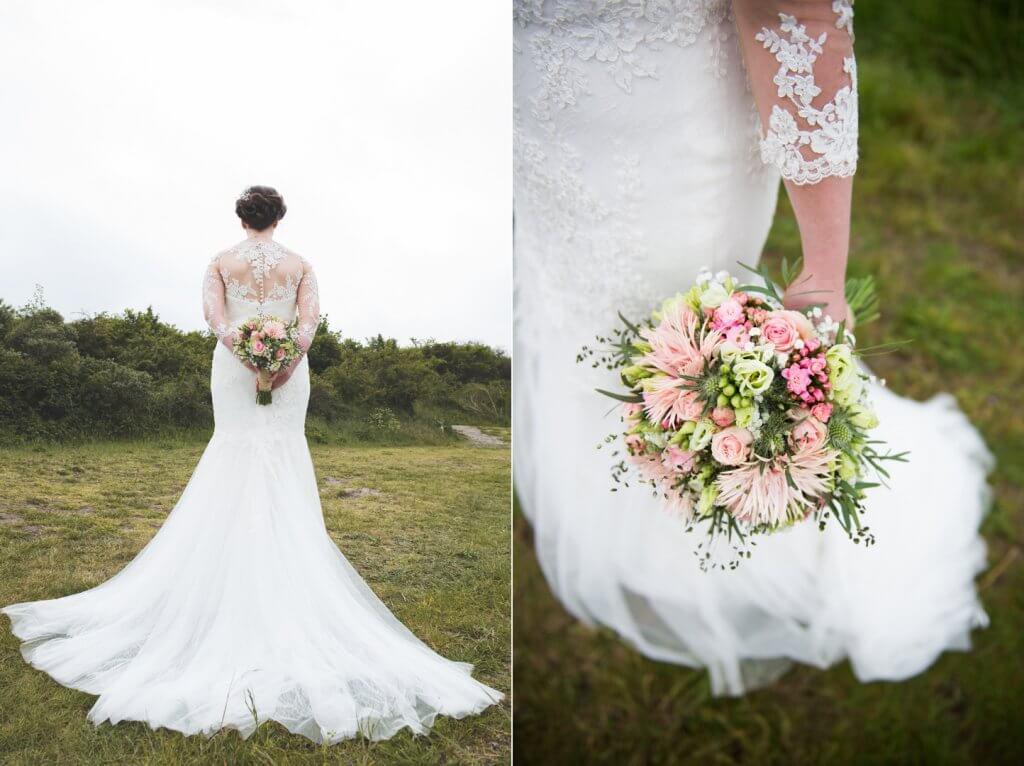 details bruidsjurk en boeket