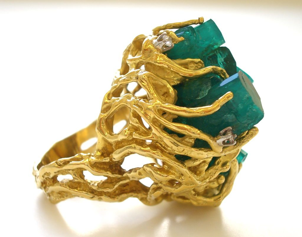 Gold and Emerald and Diamond Ring c 1970  Kimberly