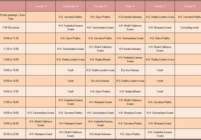 kirtan mela schedule 2013