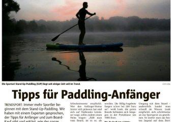 Zeitungsartikel vom Hellweger Anzeiger zur neuen Trenssportart Stand-Up-Paddling (SUP).