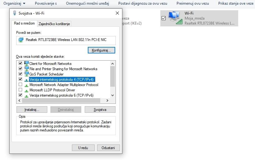 Konfiguracija Google DNS za Windows: Verzija internetskog protokola 4 (TCP/IPv4)