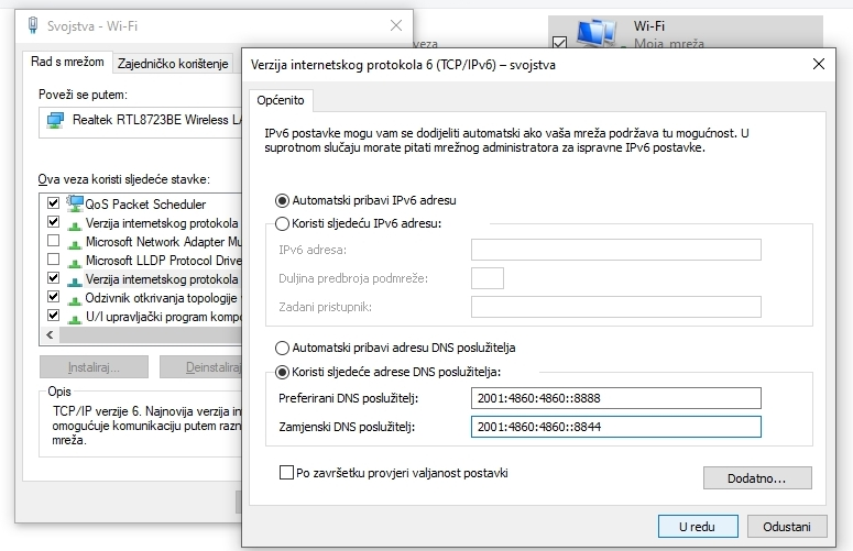 Konfiguracija Google DNS za Windows: Adrese DNS poslužitelja za TCP/IPv6