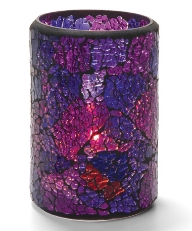 Suporte Crackle Glass Cylinders Azul e Violeta