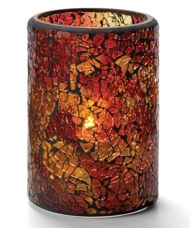 Suporte Crackle Glass Cylinders Vermelho e Dourado
