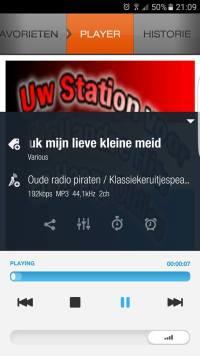 Luisterscherm XiiaLive app bouwradio of autoradio via mobiele telefoon