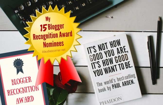 And the Blogger Recognition Award Goes To -