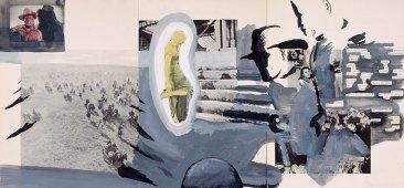 Klaus Killisch, Boy from Mix Run, 2001, aryl on paper, 30x66cm, text: Robert Fitterman
