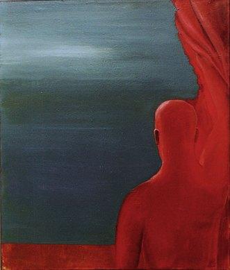 Klaus Killisch, Roter Vorhang, 2000, oil on canvas, 116x97cm