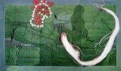 Klaus Killisch, Cuba Libre, 1991, oil, acrylic paint, flowers on canvas, 280 x 480cm / 110.2 x 189 inch