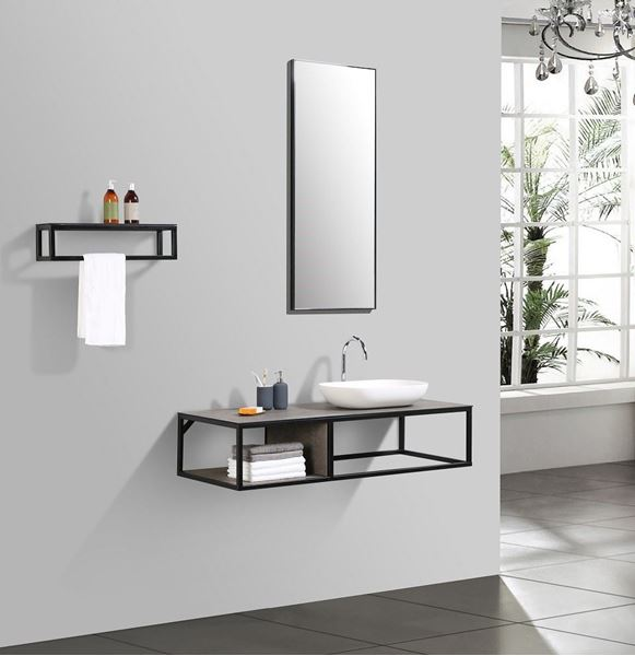 Modern Bathroom Vanity 1300 Mm L With Black Iron Frame And Textured Stone Ash Counter 5 Pcs Set Klaus Klein Exclusive Design Products