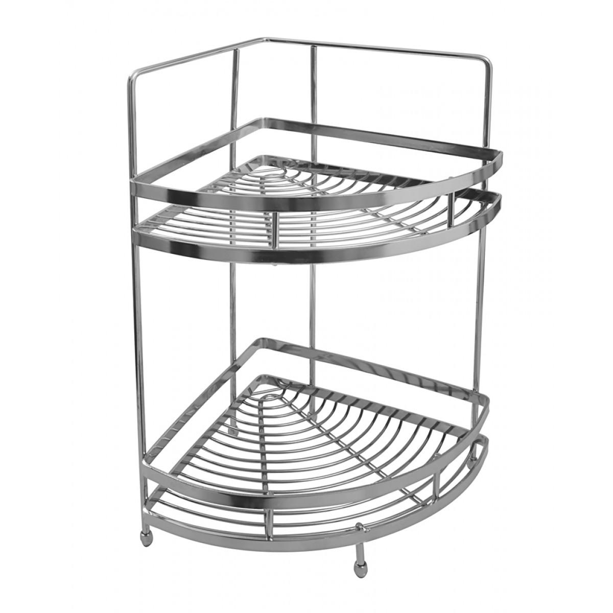 kitchen basket modern chairs klaxon stainless steel double shelf silver accessories solutions