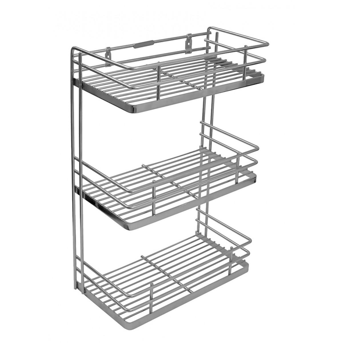 stainless steel kitchen racks cabinet styles klaxon spice rack silver