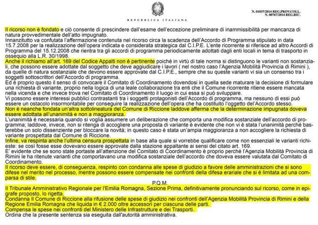 Ricorso TRC n° 01037/2014 Reg.Prov.Coll. n° 00767/2014 Reg.Ric.