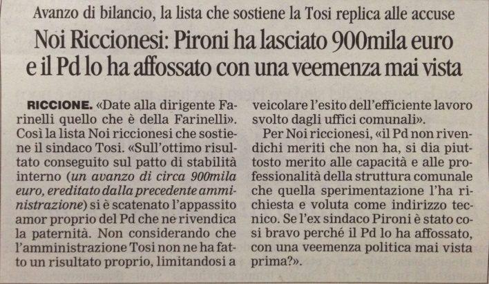 Noi Riccionesi: Pironi ha lasciato 900mila euro...