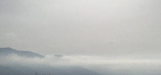Fotografia del promontorio di Portofino e della parte levante della città di Genova, con la caliga