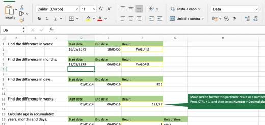 screenshoot calcolare la differenza tra due date