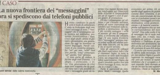 Scansione articolo Secolo XIX La nuova frontiera dei SMS ora si spediscono dai telefoni pubblici 2002