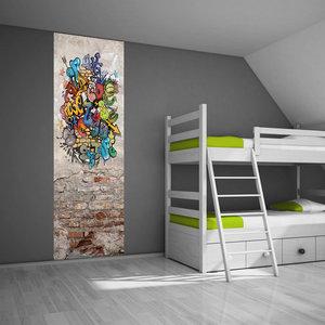 Muursticker paneel graffiti  Stoer kinderkamer idee