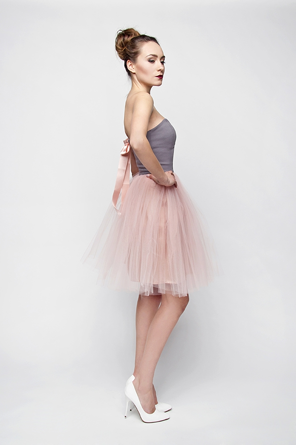 Brautkleid Standesamt Kurz Pastell Rosa Grau