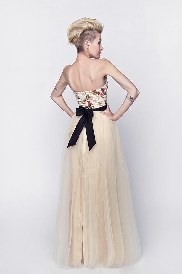 Langes Standesamtkleid brautkleid mit Rosenmuster