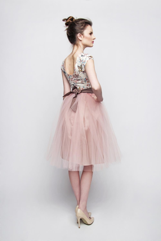 Standesamt Kleid rosa braun kurz mit Tllrock  Kleiderfreuden