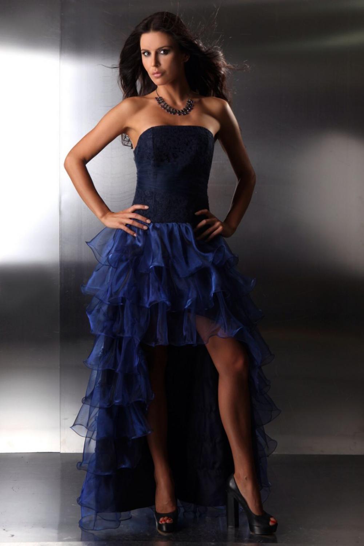 Abendkleid vorne kurz hinten lang blau  Kleiderfreuden