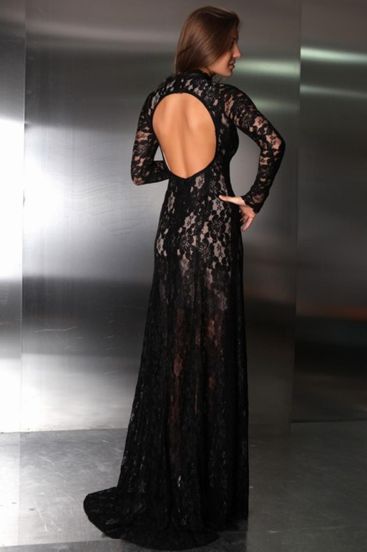 Rckenfreies Abendkleid Ballkleid aus schwarzer Spitze