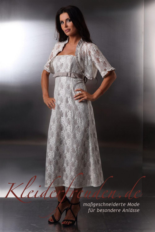 Kurze Hochzeitskleid Standesamt Spitze schulterfrei creme beige  Kleiderfreuden