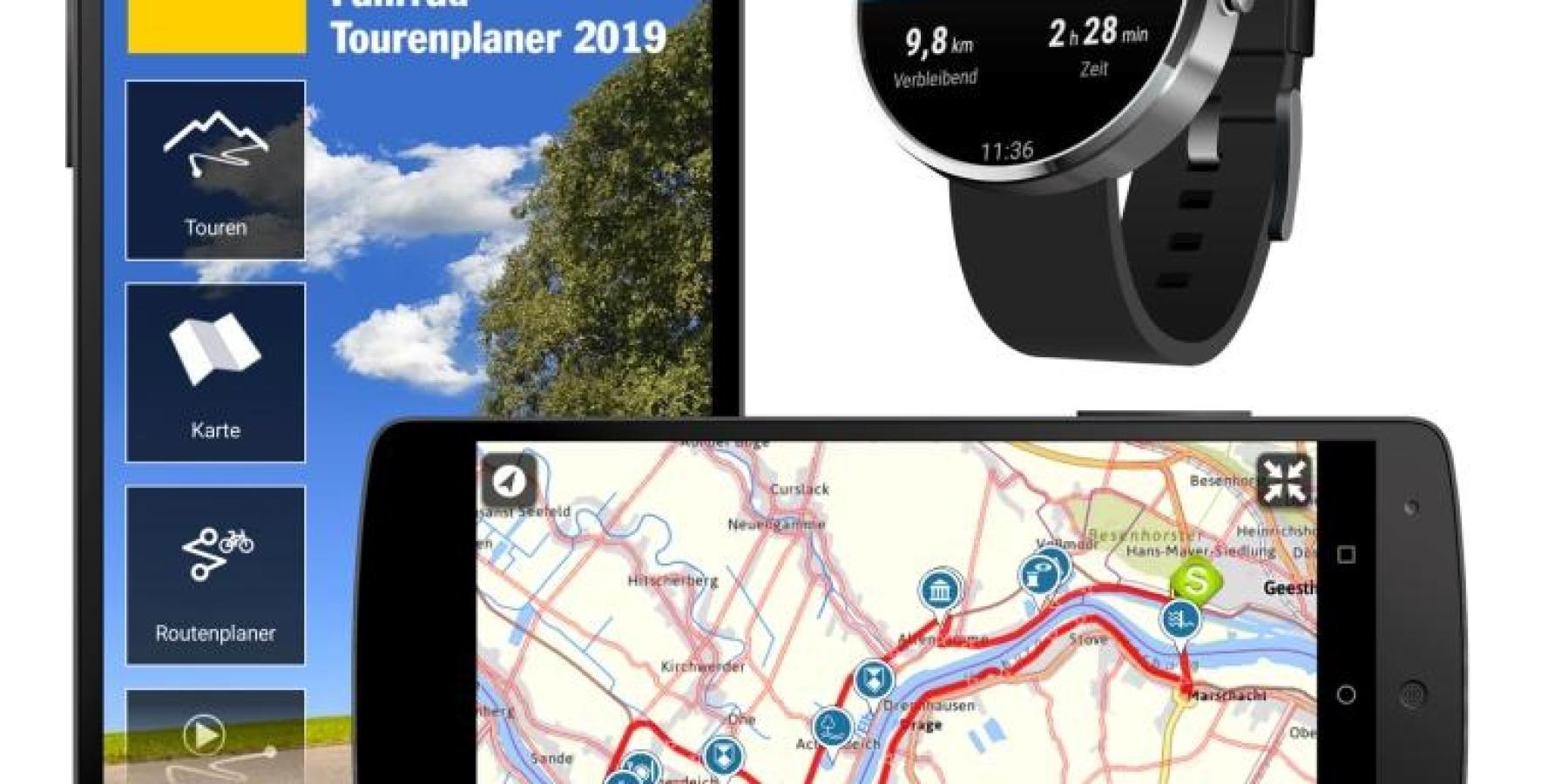 ADAC Apps für Fahrrad- und Wandertouren / Mit sprachgeführter Navigation