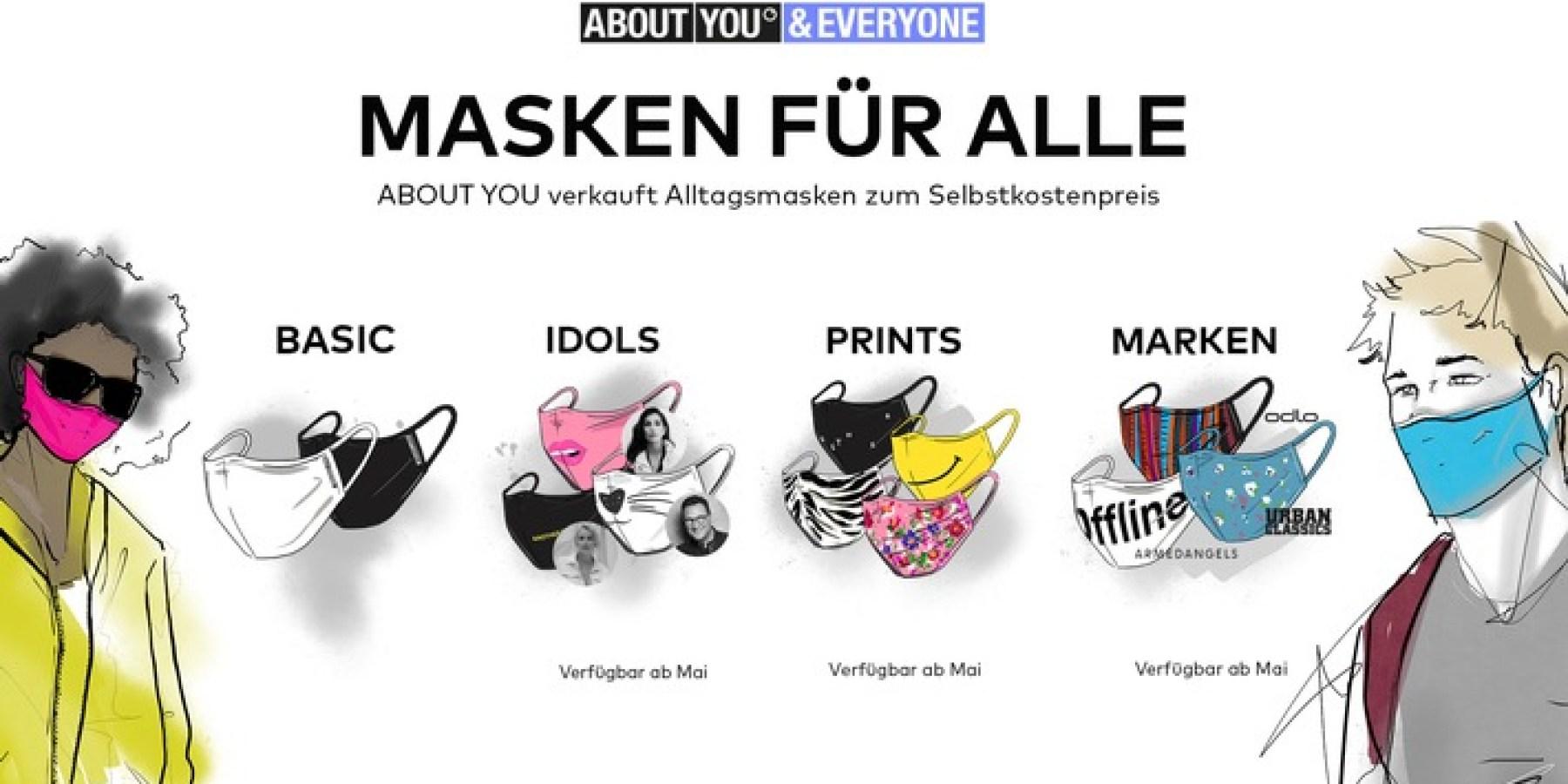 ABOUT YOU bietet größte Vielfalt an modischen Alltagsmasken zum transparenten Selbstkostenpreis