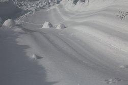 Eine der Schneebahnen der Lawine
