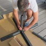 Der Fundamentsockel für die Betonplatten
