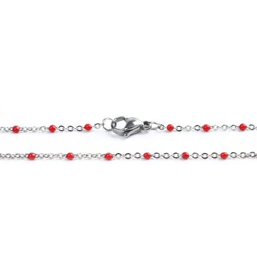 Sommerkette silber-rot 45 cm
