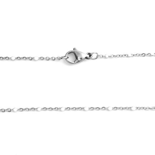 Sommerkette silber-weiß 45 cm