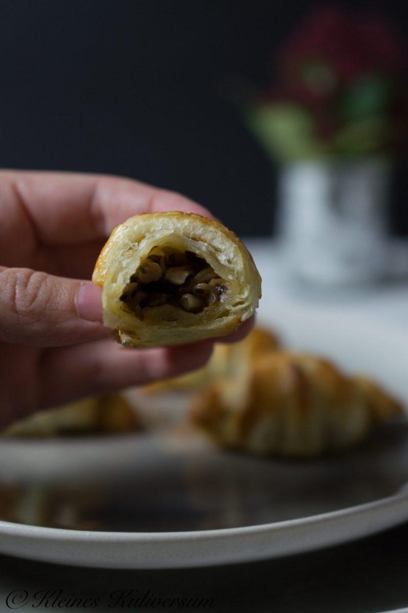 Weihnachtsmenü 2017 Herzhafte Croissants mit Pilzen