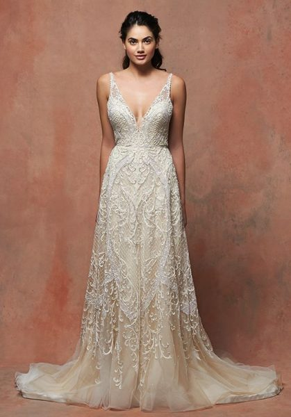 Romantic Lace Vneck Sleeveless Wedding Dress  Kleinfeld Bridal