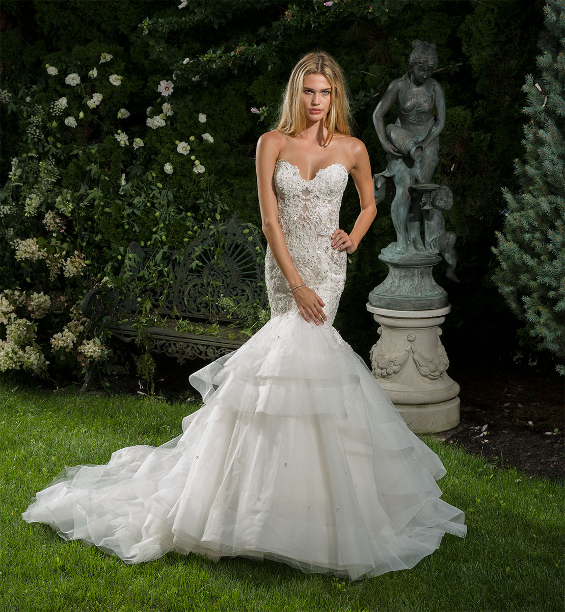 Beaded Sweetheart Neck Sheer Bodice Fit And Flare Wedding Dress  Kleinfeld Bridal
