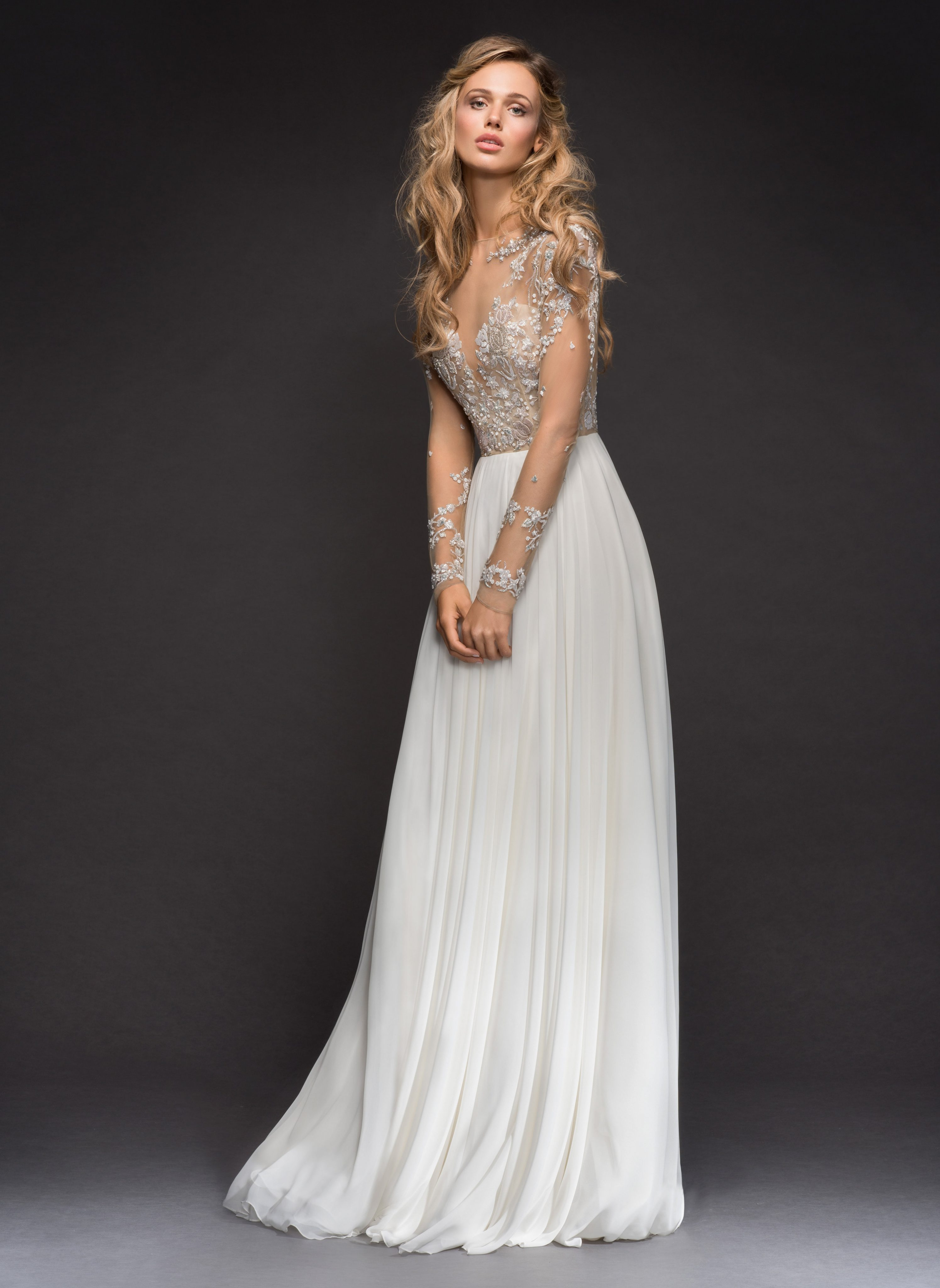 Long Sleeve Beaded Illusion Bodice Aline Wedding Dress  Kleinfeld Bridal