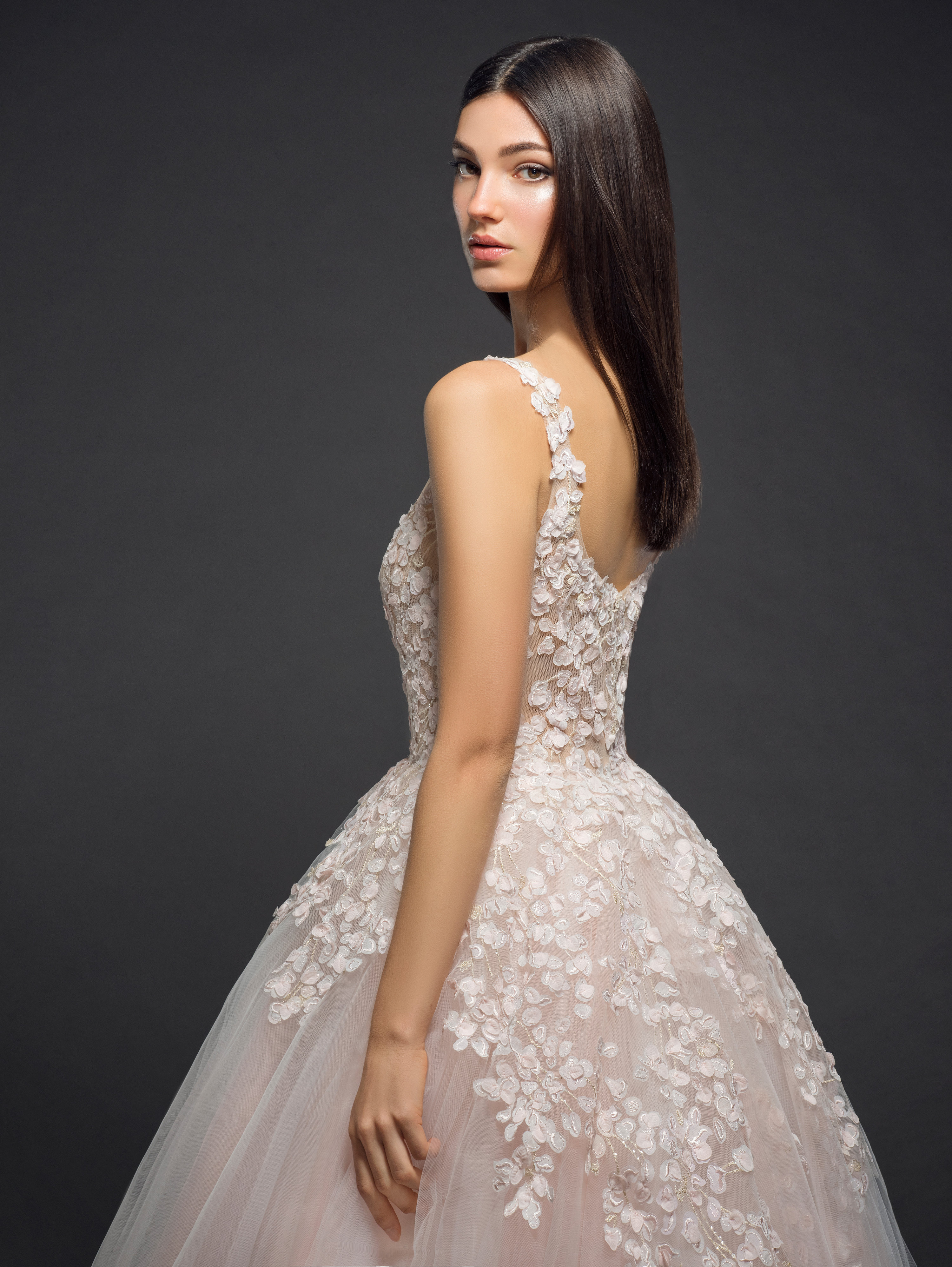 Floral Embroidery With An Illusion Neck And Tulle Skirt