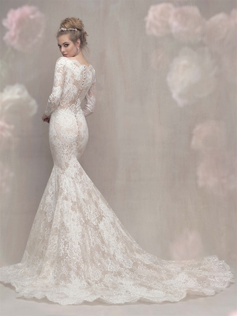 Lace Long Sleeve Fit And Flare Wedding Dress  Kleinfeld Bridal
